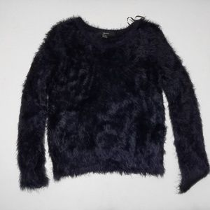 Forever 21 fuzzy faux fur navy blue cozy sweater